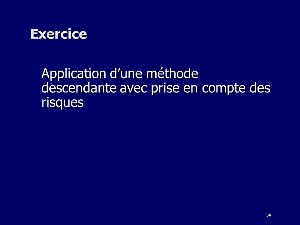 34 Exercice Application dune méthode descendante avec prise en compte des risques