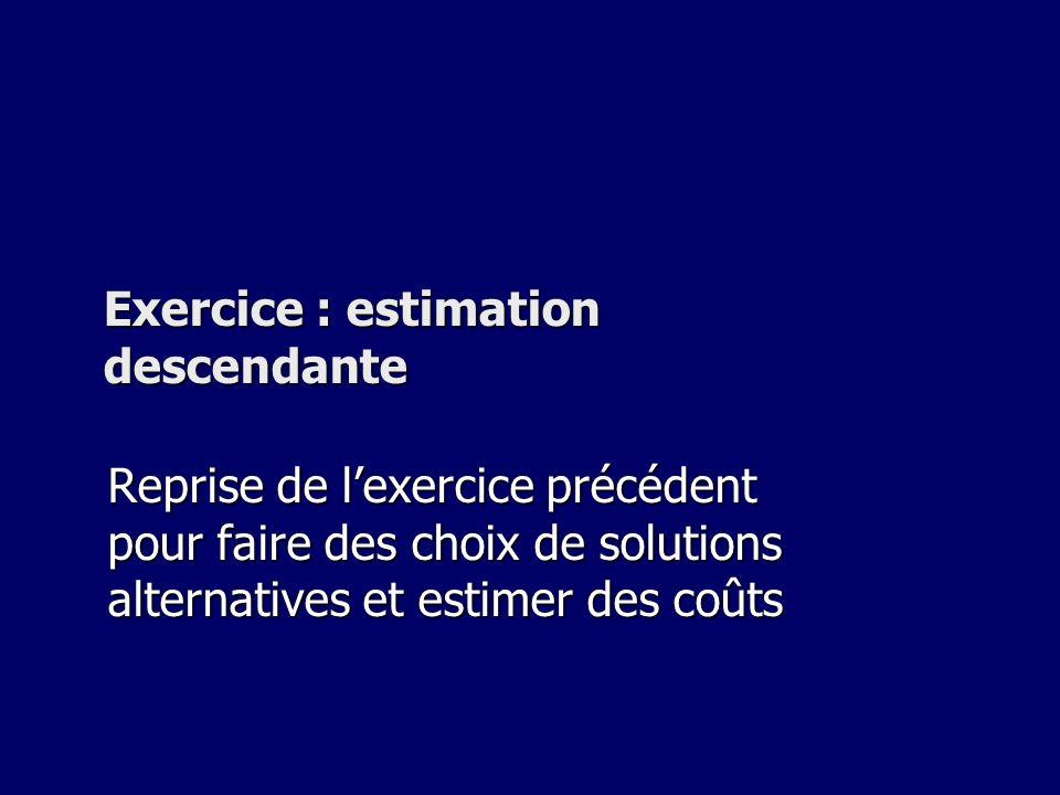 Exercice : estimation descendante Reprise de lexercice précédent pour faire des choix de solutions alternatives et estimer des coûts