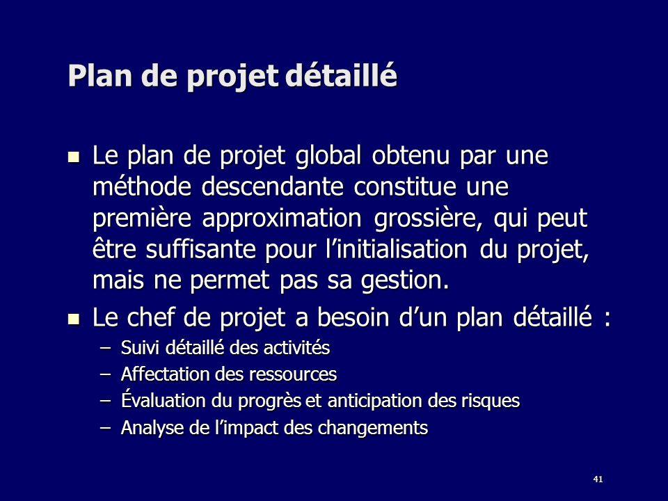 41 Plan de projet détaillé Le plan de projet global obtenu par une méthode descendante constitue une première approximation grossière, qui peut être suffisante pour linitialisation du projet, mais ne permet pas sa gestion.