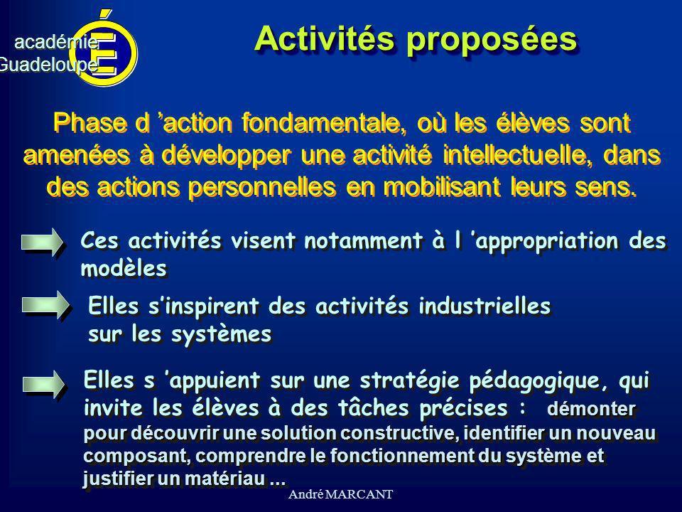 cv académieGuadeloupeacadémieGuadeloupe André MARCANT Activités proposées Phase d action fondamentale, où les élèves sont amenées à développer une act