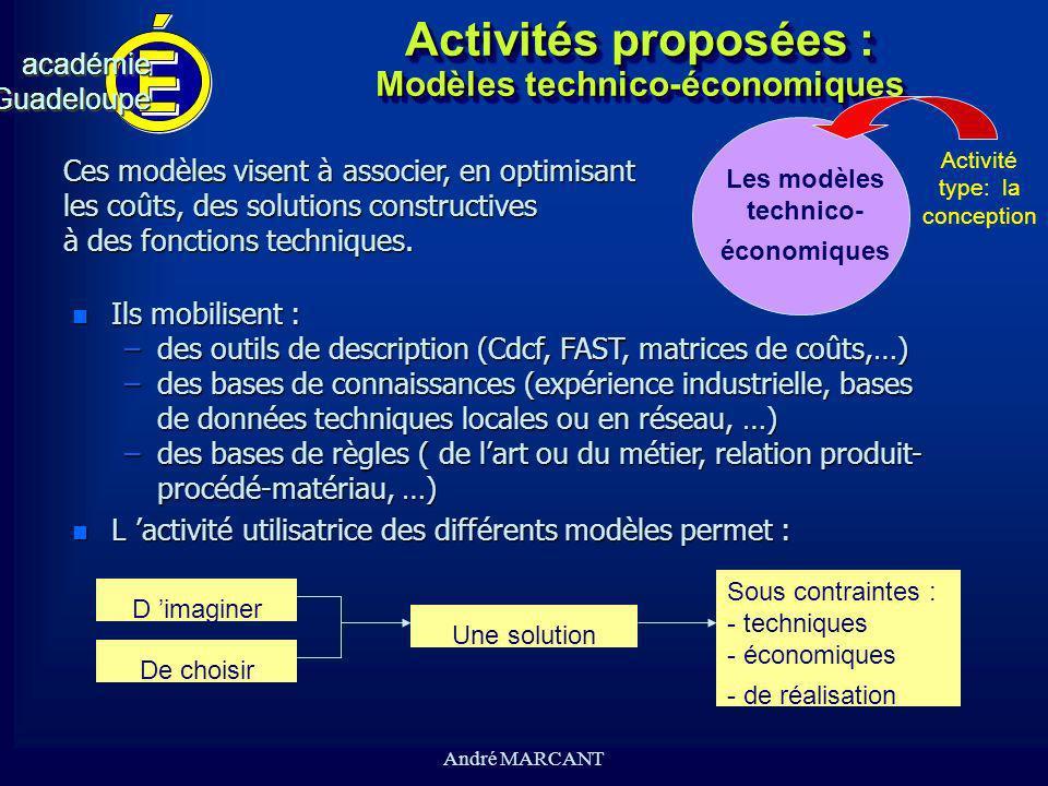 cv académieGuadeloupeacadémieGuadeloupe André MARCANT Activités proposées : Modèles technico-économiques n Ils mobilisent : –des outils de description