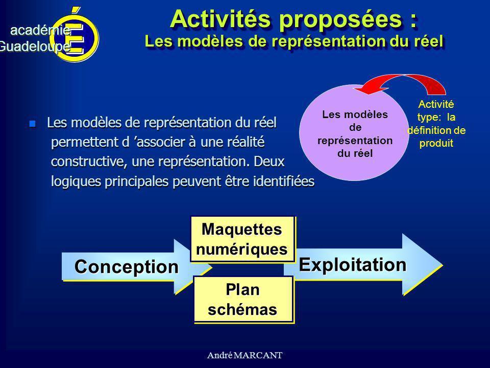 cv académieGuadeloupeacadémieGuadeloupe André MARCANT Activités proposées : Les modèles de représentation du réel n Les modèles de représentation du r