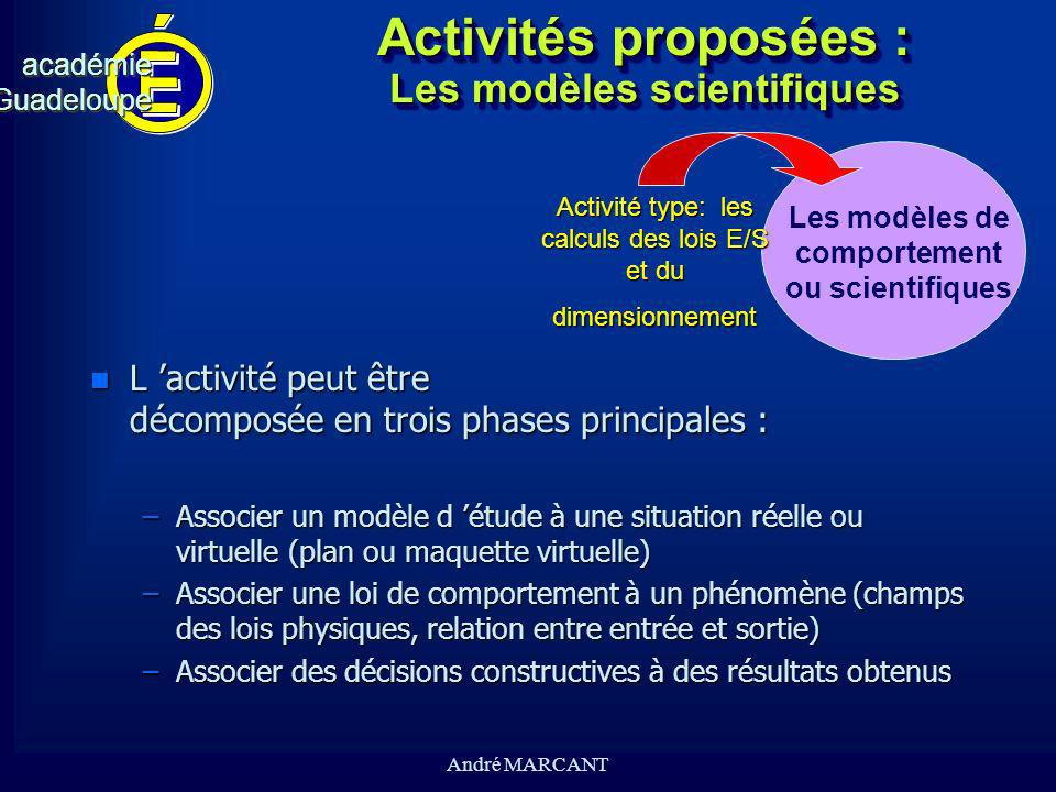 cv académieGuadeloupeacadémieGuadeloupe André MARCANT Activités proposées : Les modèles scientifiques n L activité peut être décomposée en trois phase