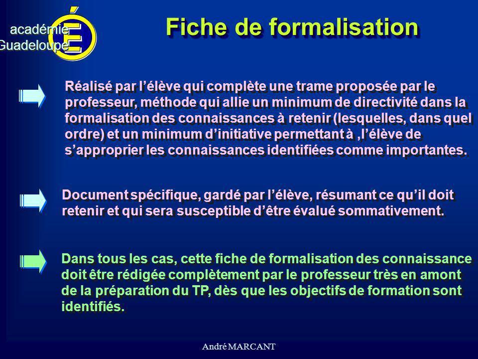 cv académieGuadeloupeacadémieGuadeloupe André MARCANT Fiche de formalisation Document spécifique, gardé par lélève, résumant ce quil doit retenir et q