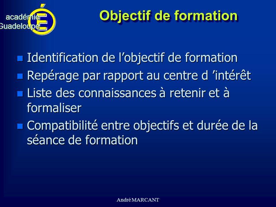 cv académieGuadeloupeacadémieGuadeloupe André MARCANT Objectif de formation n Identification de lobjectif de formation n Repérage par rapport au centr