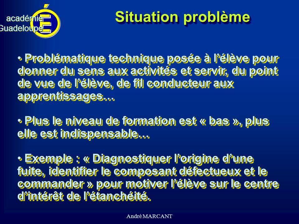 cv académieGuadeloupeacadémieGuadeloupe André MARCANT Situation problème Problématique technique posée à lélève pour donner du sens aux activités et s