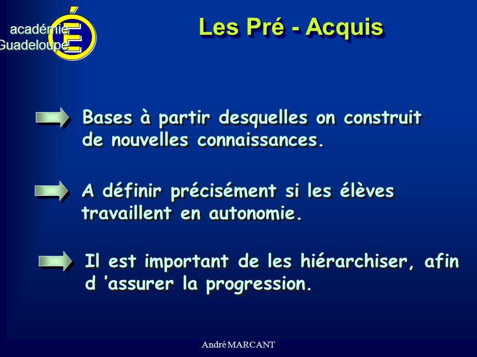 cv académieGuadeloupeacadémieGuadeloupe André MARCANT Les Pré - Acquis Bases à partir desquelles on construit de nouvelles connaissances. Bases à part