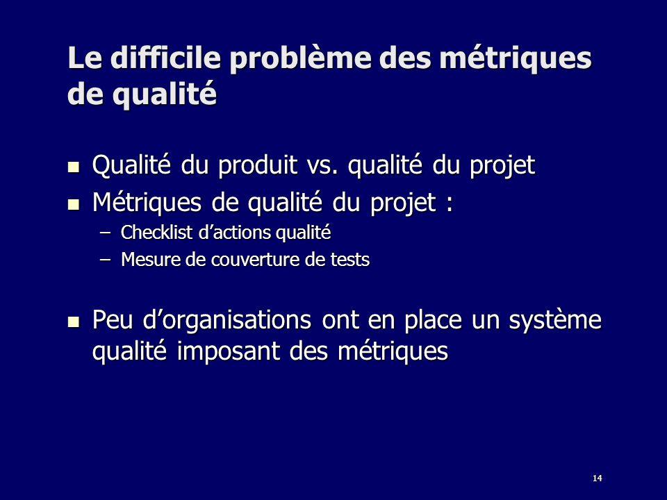 14 Le difficile problème des métriques de qualité Qualité du produit vs. qualité du projet Qualité du produit vs. qualité du projet Métriques de quali