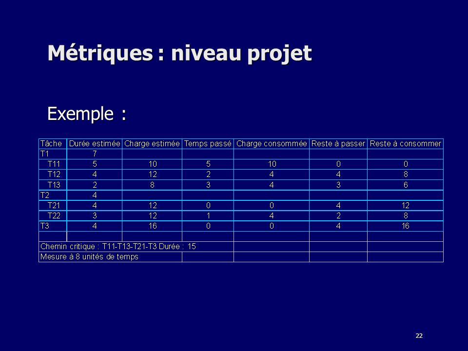 22 Métriques : niveau projet Exemple :
