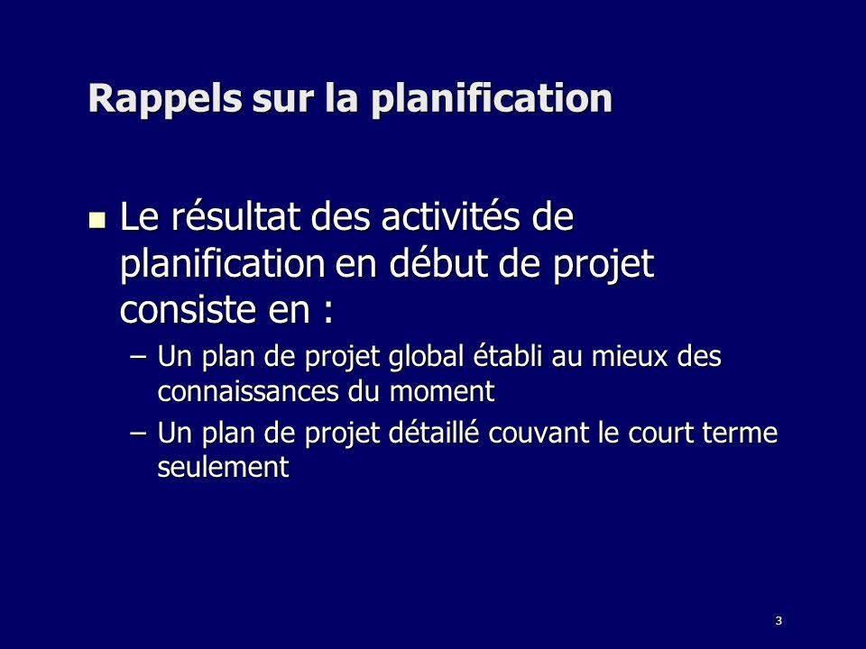 3 Rappels sur la planification Le résultat des activités de planification en début de projet consiste en : Le résultat des activités de planification