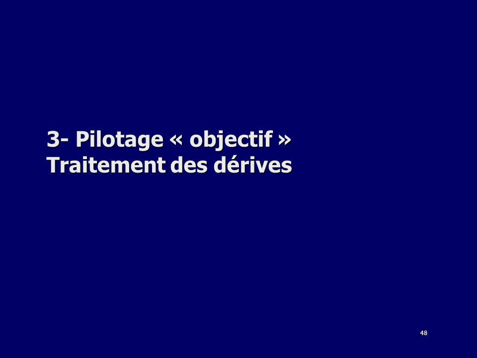 48 3- Pilotage « objectif » Traitement des dérives