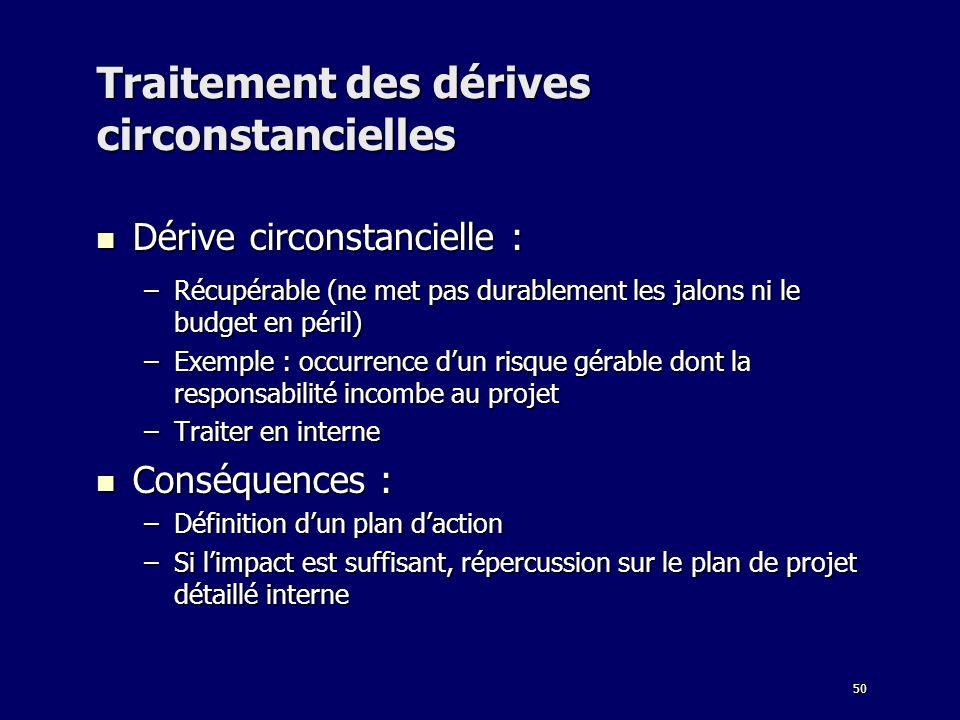 50 Traitement des dérives circonstancielles Dérive circonstancielle : Dérive circonstancielle : –Récupérable (ne met pas durablement les jalons ni le