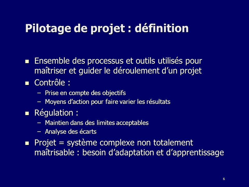 6 Pilotage de projet : définition Ensemble des processus et outils utilisés pour maîtriser et guider le déroulement dun projet Ensemble des processus