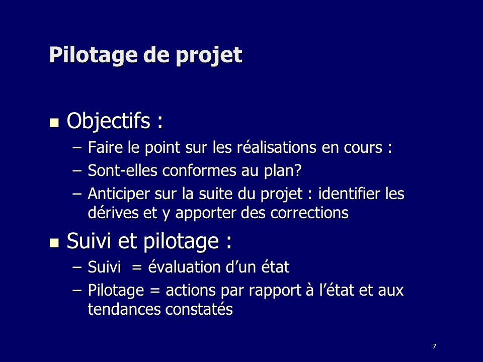 7 Pilotage de projet Objectifs : Objectifs : –Faire le point sur les réalisations en cours : –Sont-elles conformes au plan? –Anticiper sur la suite du