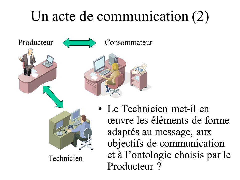 Un acte de communication (2) ProducteurConsommateur Technicien Le Technicien met-il en œuvre les éléments de forme adaptés au message, aux objectifs de communication et à lontologie choisis par le Producteur ?
