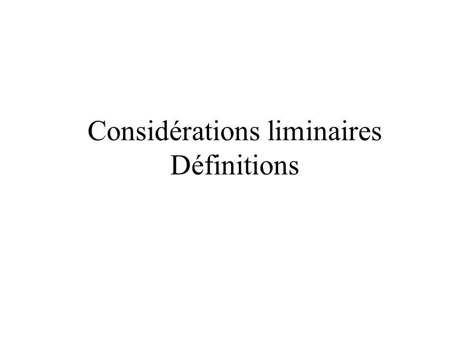Considérations liminaires Définitions