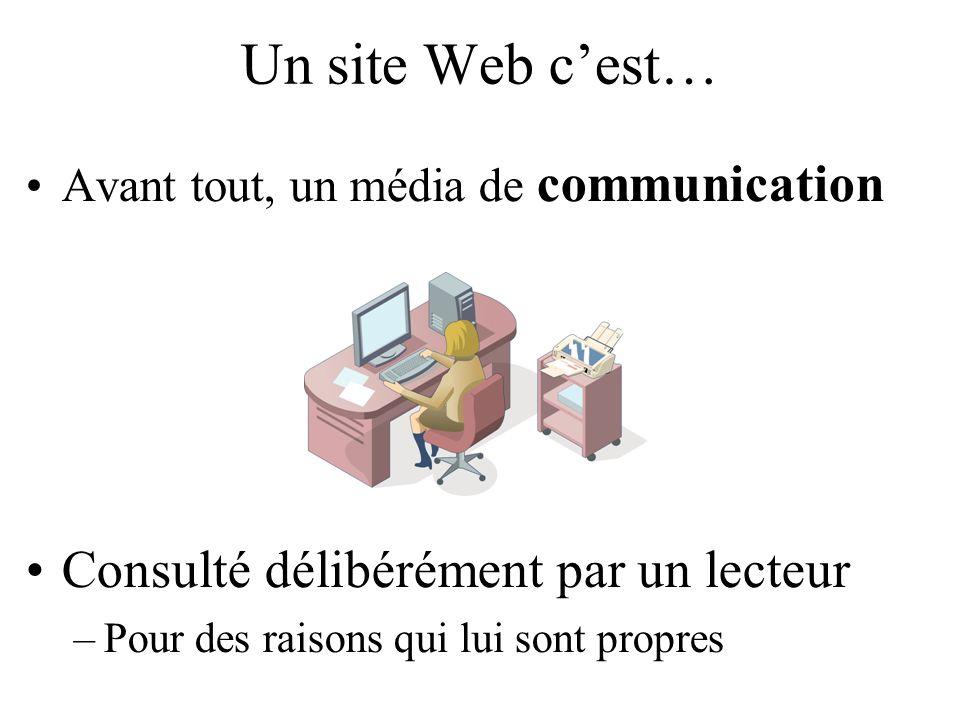 Un site Web cest… Avant tout, un média de communication Consulté délibérément par un lecteur –Pour des raisons qui lui sont propres