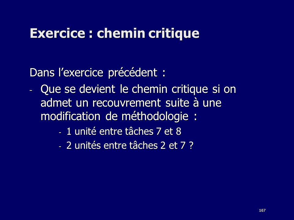 107 Exercice : chemin critique Dans lexercice précédent : - Que se devient le chemin critique si on admet un recouvrement suite à une modification de