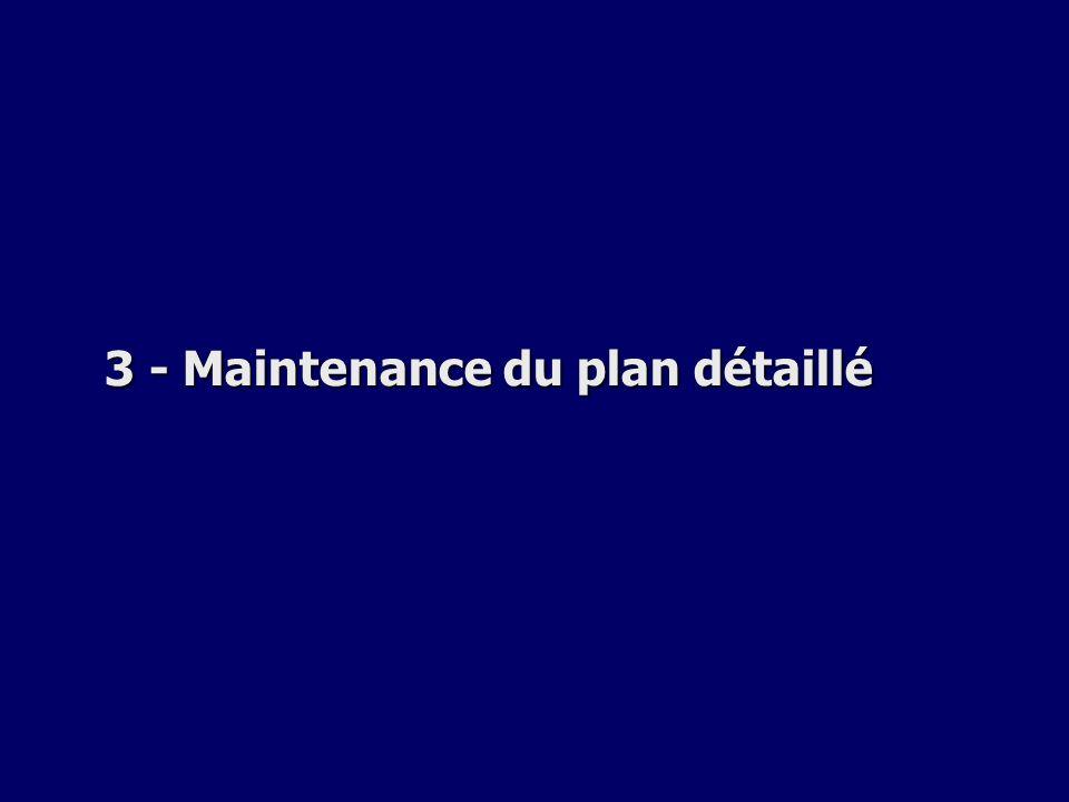 3 - Maintenance du plan détaillé