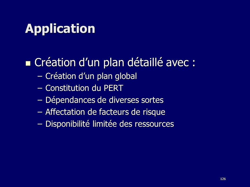 126 Application Création dun plan détaillé avec : Création dun plan détaillé avec : –Création dun plan global –Constitution du PERT –Dépendances de di