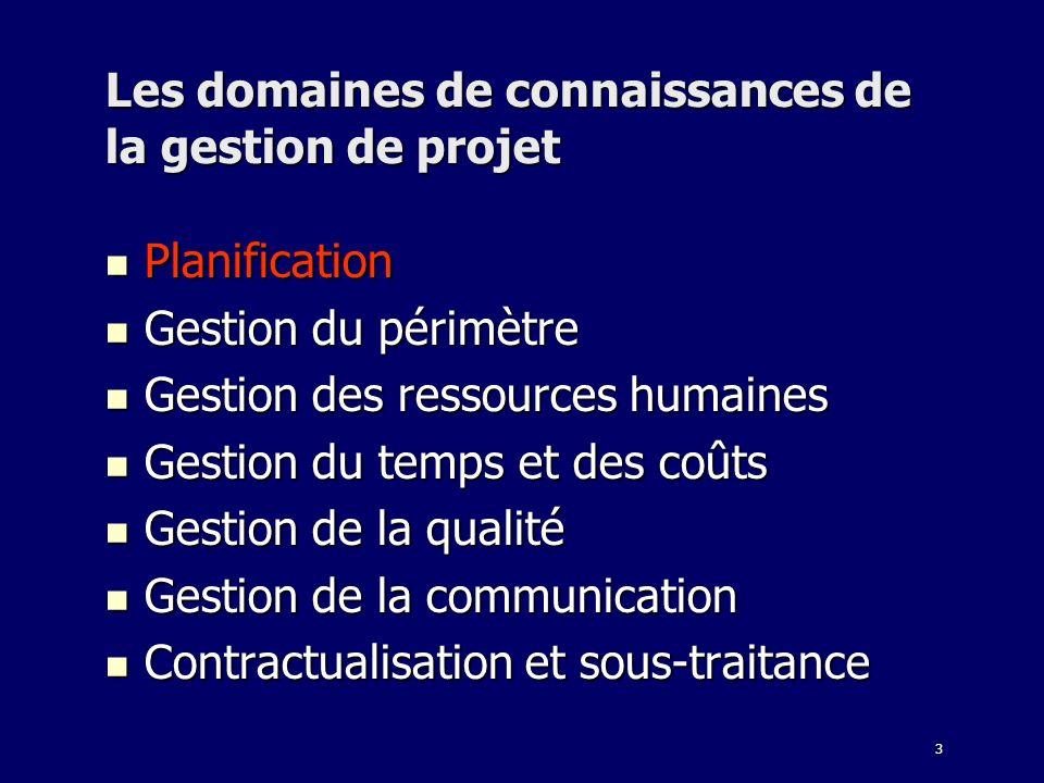 3 Les domaines de connaissances de la gestion de projet Planification Planification Gestion du périmètre Gestion du périmètre Gestion des ressources h