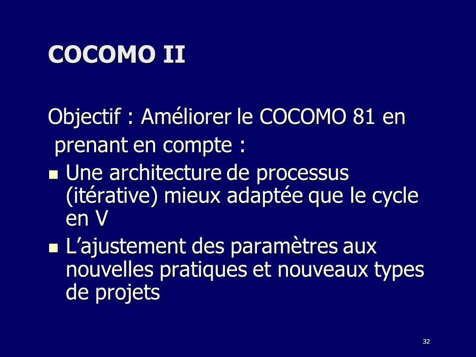 32 COCOMO II Objectif : Améliorer le COCOMO 81 en prenant en compte : prenant en compte : Une architecture de processus (itérative) mieux adaptée que