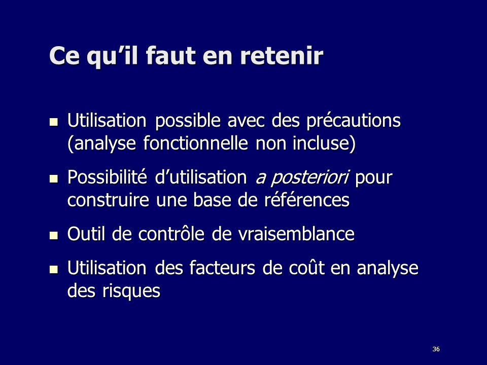 36 Ce quil faut en retenir Utilisation possible avec des précautions (analyse fonctionnelle non incluse) Utilisation possible avec des précautions (an