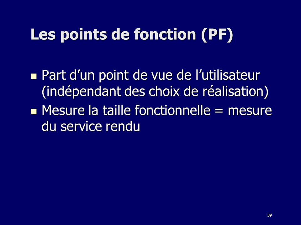 39 Les points de fonction (PF) Part dun point de vue de lutilisateur (indépendant des choix de réalisation) Part dun point de vue de lutilisateur (ind