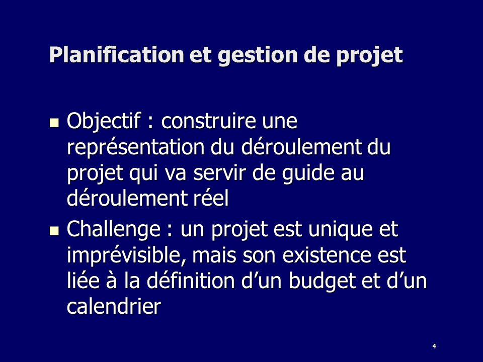 4 Planification et gestion de projet Objectif : construire une représentation du déroulement du projet qui va servir de guide au déroulement réel Obje