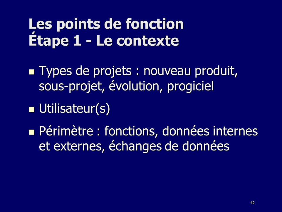 42 Les points de fonction Étape 1 - Le contexte Types de projets : nouveau produit, sous-projet, évolution, progiciel Types de projets : nouveau produ