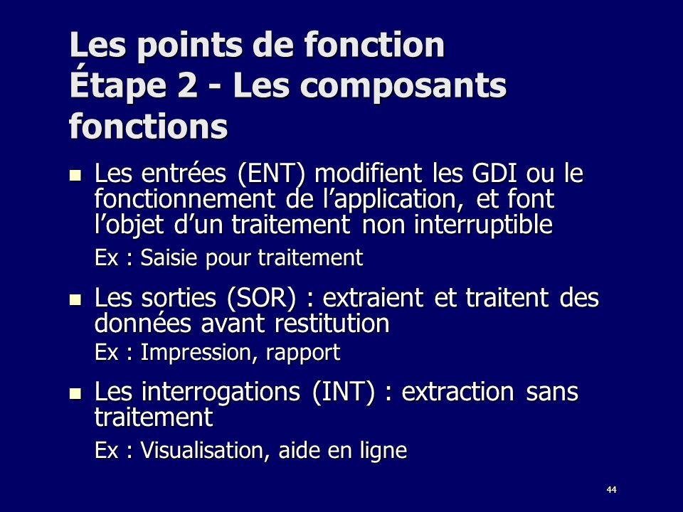 44 Les points de fonction Étape 2 - Les composants fonctions Les entrées (ENT) modifient les GDI ou le fonctionnement de lapplication, et font lobjet