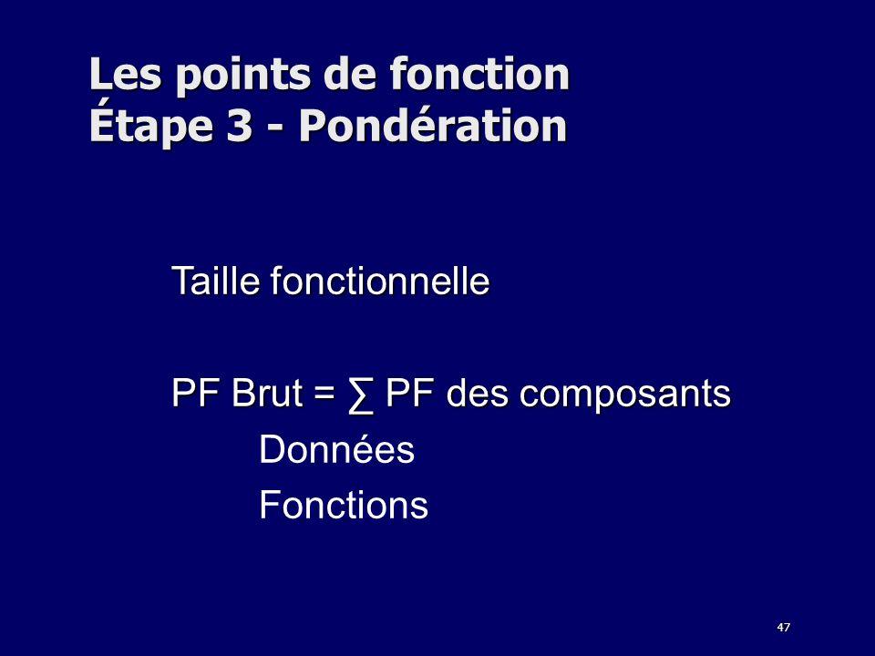 47 Les points de fonction Étape 3 - Pondération Taille fonctionnelle PF Brut = PF des composants Données Fonctions