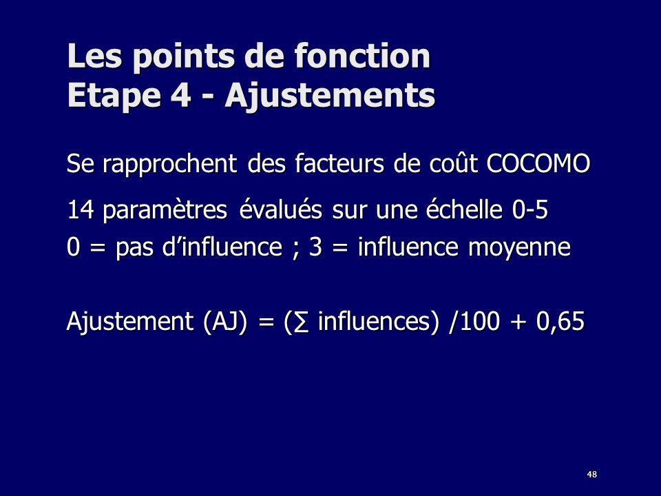 48 Les points de fonction Etape 4 - Ajustements Se rapprochent des facteurs de coût COCOMO 14 paramètres évalués sur une échelle 0-5 0 = pas dinfluenc