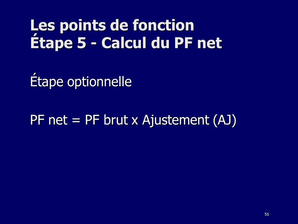 51 Les points de fonction Étape 5 - Calcul du PF net Étape optionnelle PF net = PF brut x Ajustement (AJ)