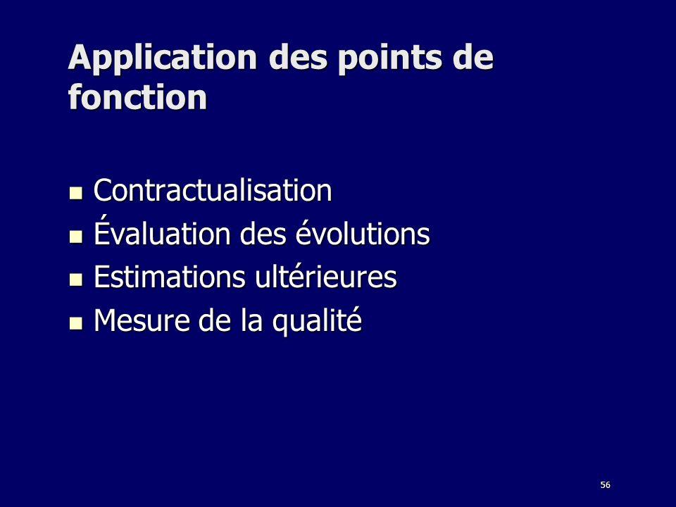 56 Application des points de fonction Contractualisation Contractualisation Évaluation des évolutions Évaluation des évolutions Estimations ultérieure