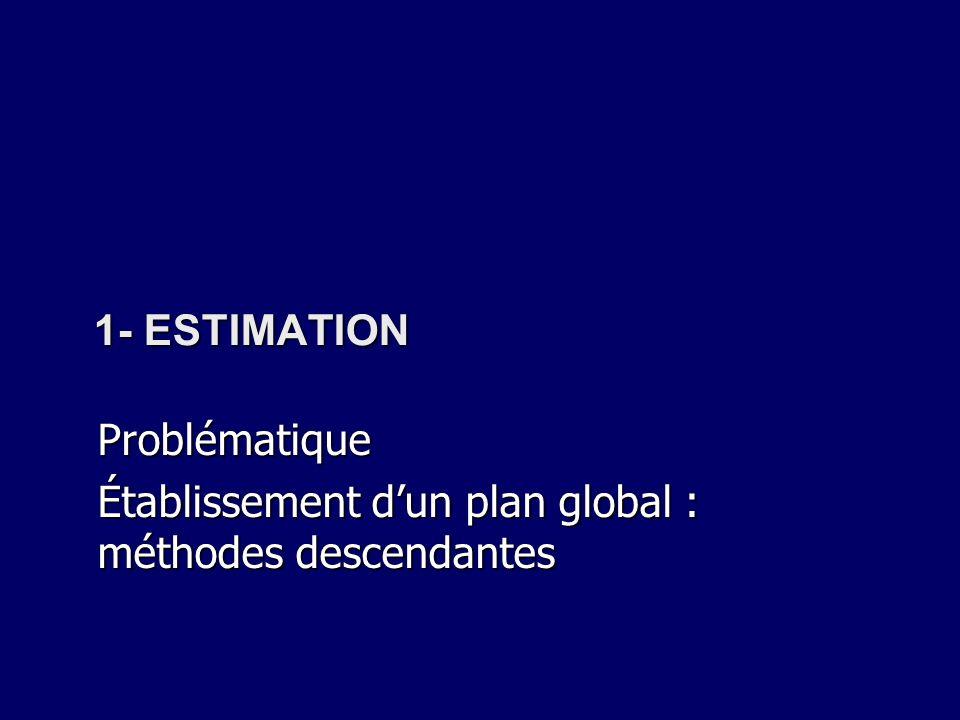 1- ESTIMATION Problématique Établissement dun plan global : méthodes descendantes