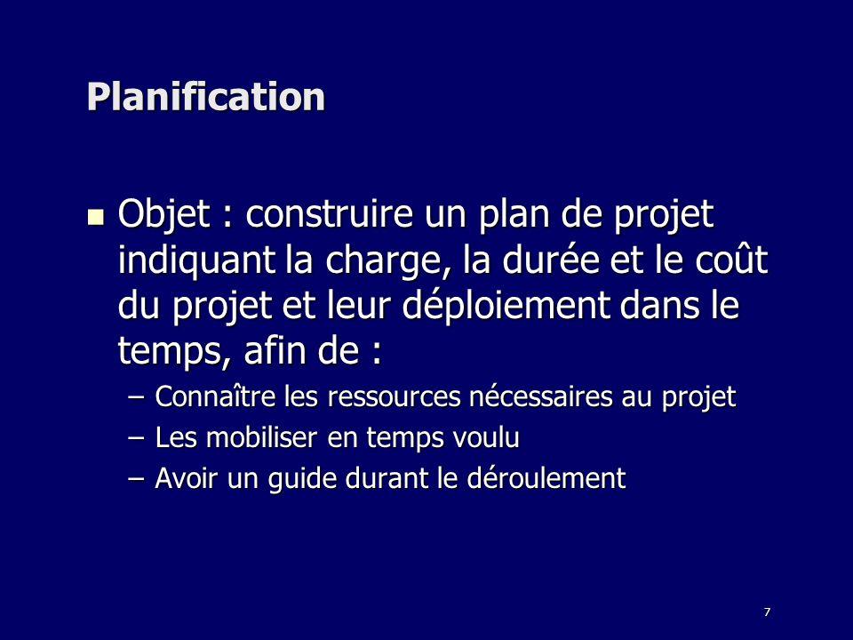 7 Planification Objet : construire un plan de projet indiquant la charge, la durée et le coût du projet et leur déploiement dans le temps, afin de : O