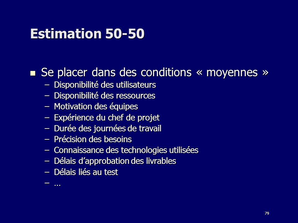 79 Estimation 50-50 Se placer dans des conditions « moyennes » Se placer dans des conditions « moyennes » –Disponibilité des utilisateurs –Disponibili