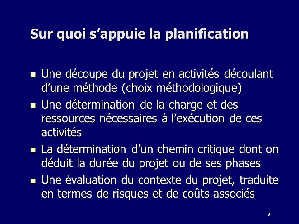 8 Sur quoi sappuie la planification Une découpe du projet en activités découlant dune méthode (choix méthodologique) Une découpe du projet en activité