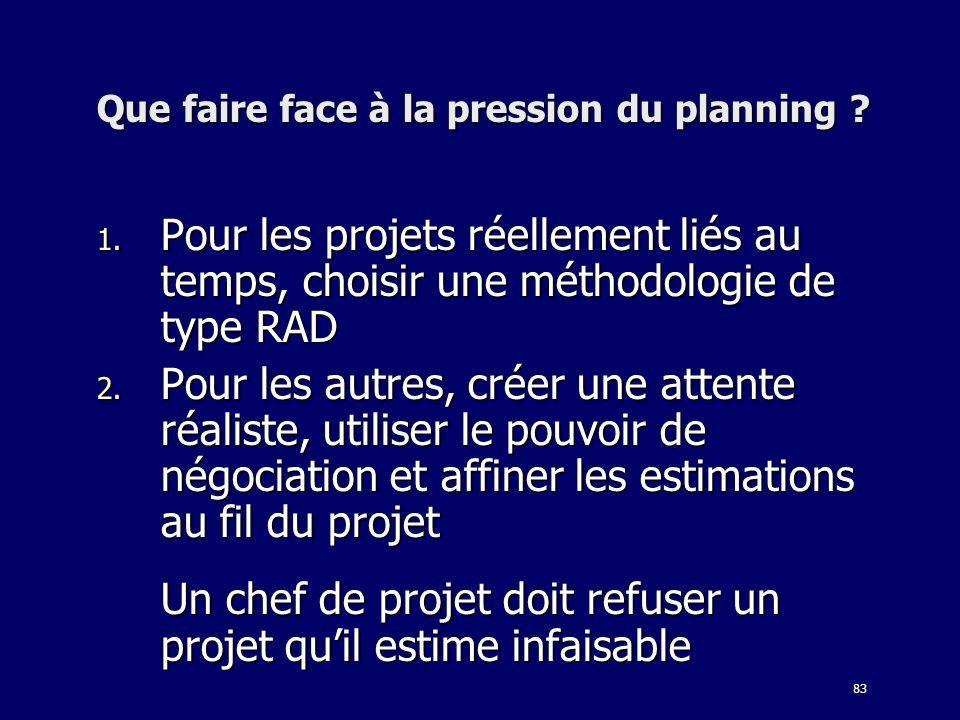 83 Que faire face à la pression du planning ? 1. Pour les projets réellement liés au temps, choisir une méthodologie de type RAD 2. Pour les autres, c