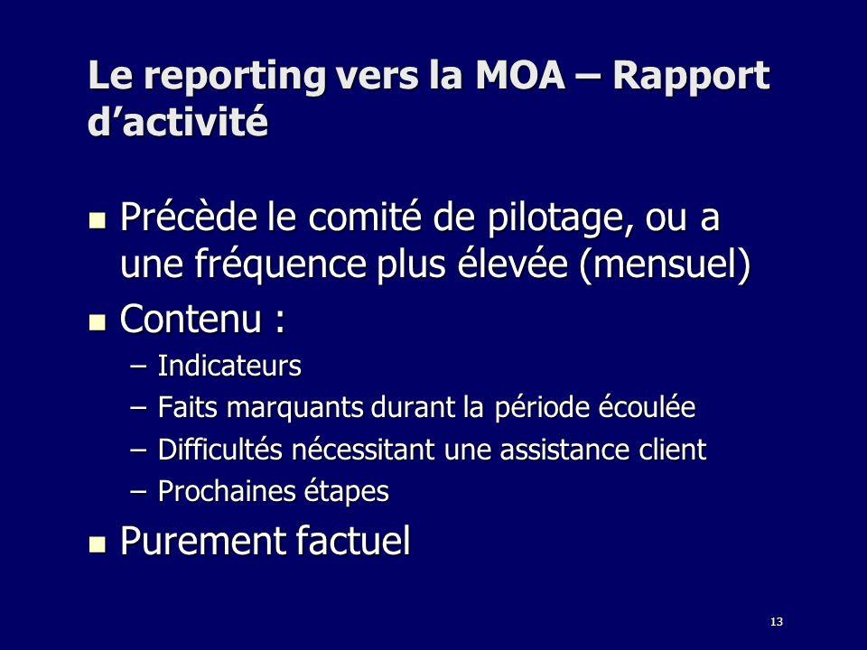 13 Le reporting vers la MOA – Rapport dactivité Précède le comité de pilotage, ou a une fréquence plus élevée (mensuel) Précède le comité de pilotage,
