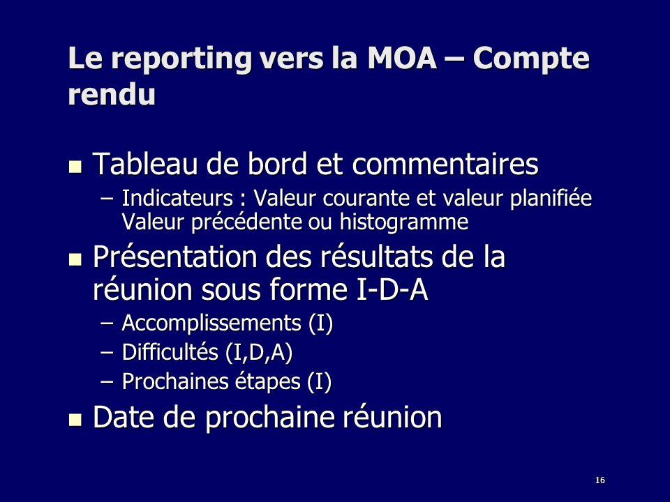 16 Le reporting vers la MOA – Compte rendu Tableau de bord et commentaires Tableau de bord et commentaires –Indicateurs : Valeur courante et valeur pl