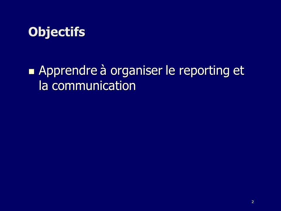 2 Objectifs Apprendre à organiser le reporting et la communication Apprendre à organiser le reporting et la communication