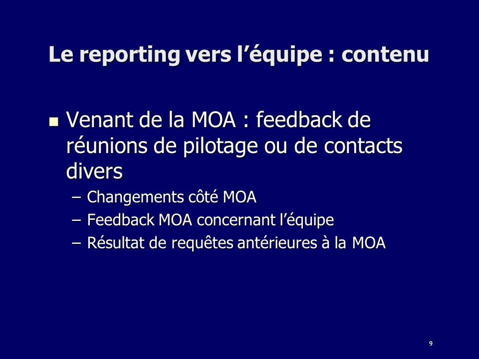 9 Le reporting vers léquipe : contenu Venant de la MOA : feedback de réunions de pilotage ou de contacts divers Venant de la MOA : feedback de réunion