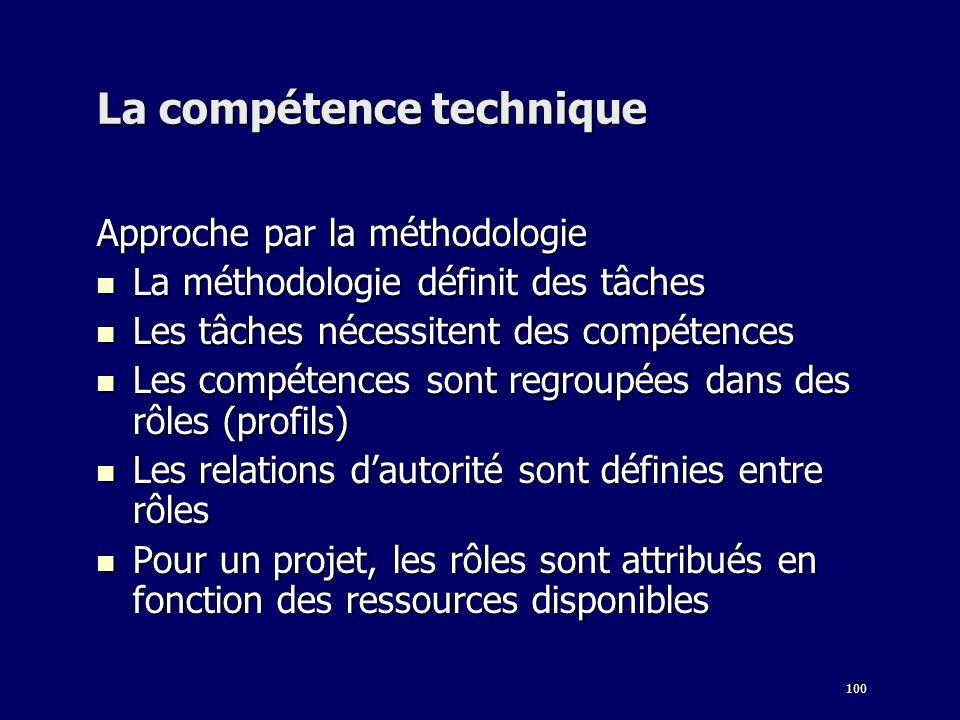 100 La compétence technique Approche par la méthodologie La méthodologie définit des tâches La méthodologie définit des tâches Les tâches nécessitent