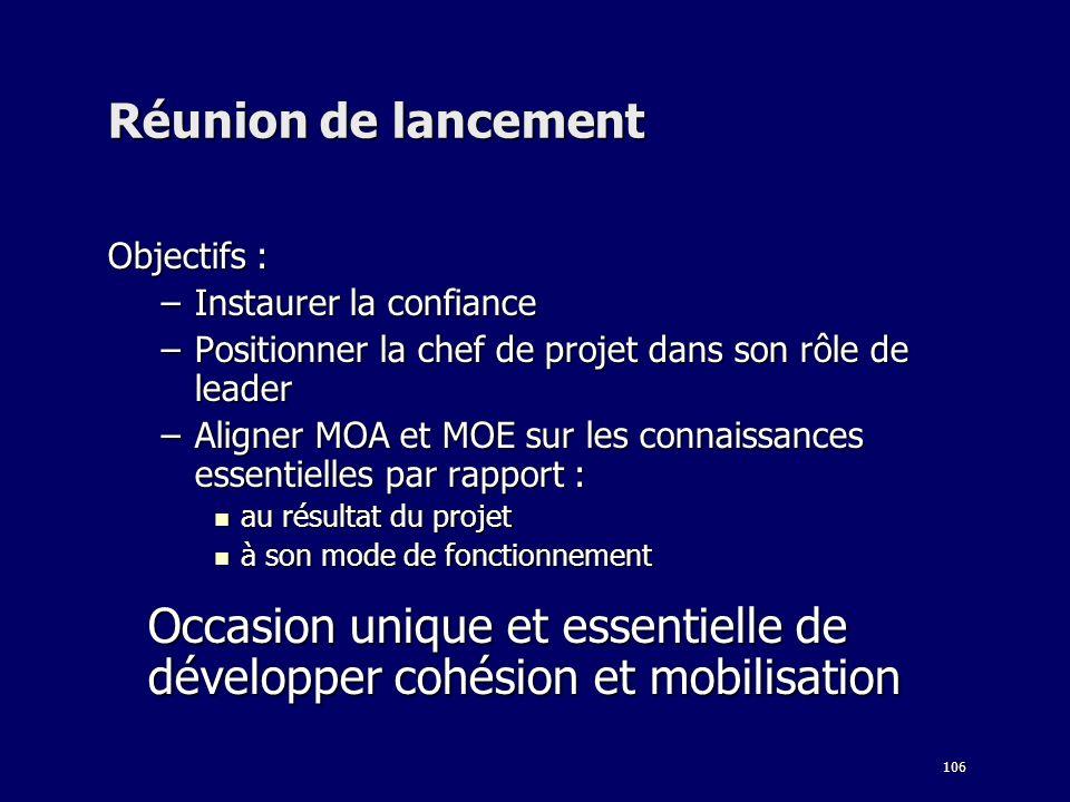 106 Réunion de lancement Objectifs : –Instaurer la confiance –Positionner la chef de projet dans son rôle de leader –Aligner MOA et MOE sur les connai