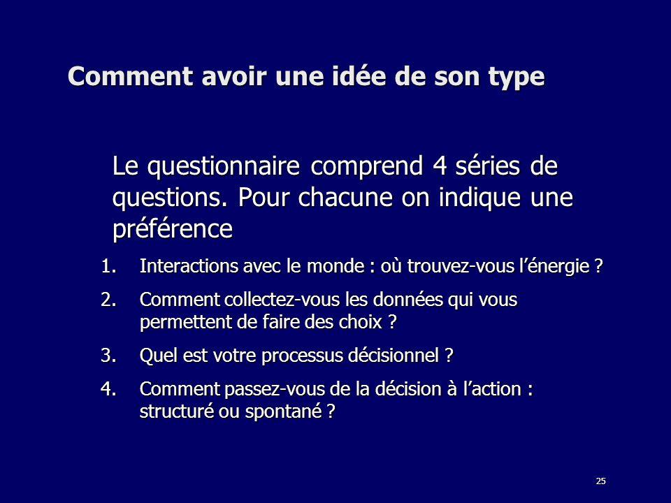 25 Comment avoir une idée de son type Le questionnaire comprend 4 séries de questions. Pour chacune on indique une préférence 1.Interactions avec le m