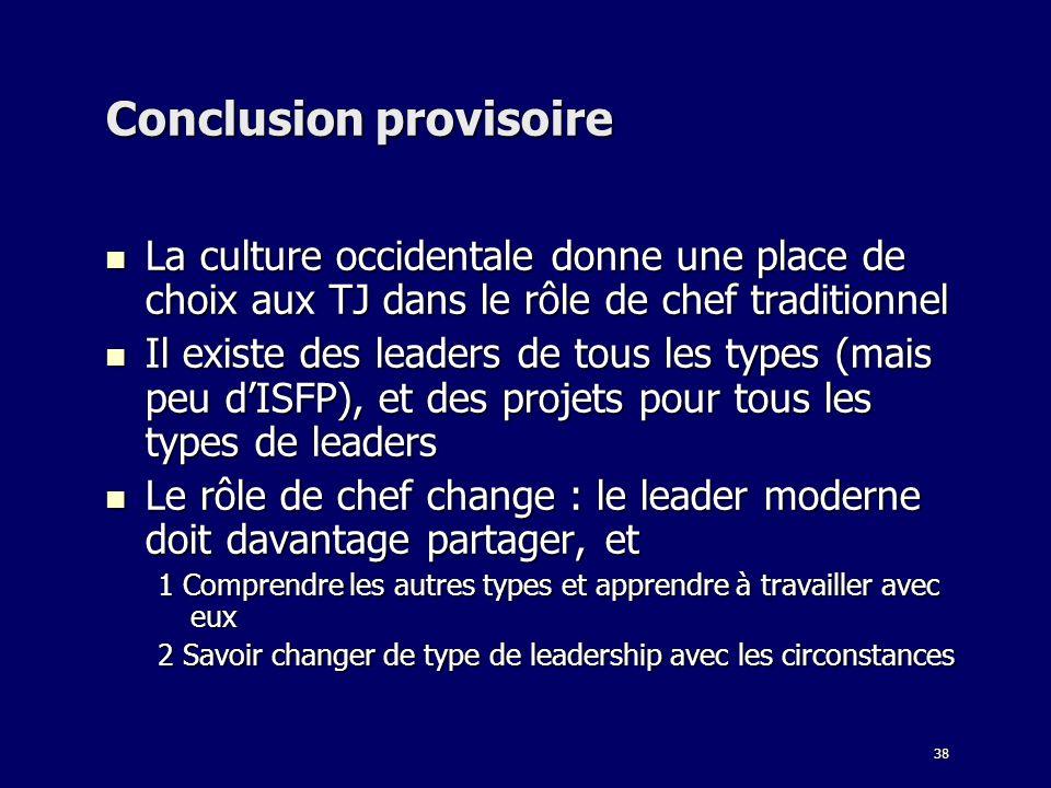 38 Conclusion provisoire La culture occidentale donne une place de choix aux TJ dans le rôle de chef traditionnel La culture occidentale donne une pla