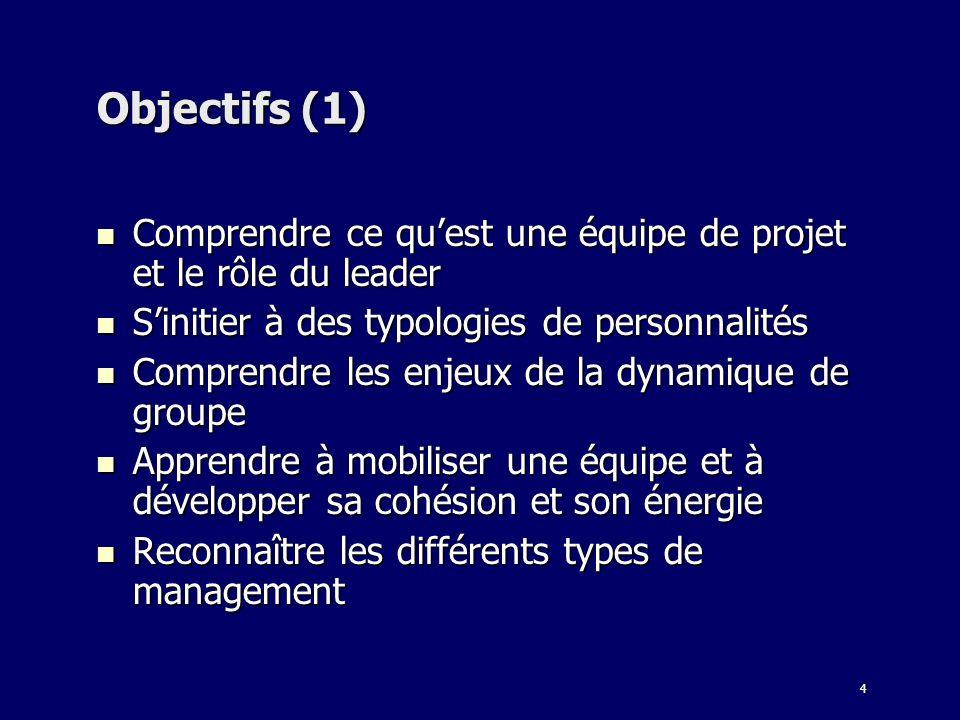 4 Objectifs (1) Comprendre ce quest une équipe de projet et le rôle du leader Comprendre ce quest une équipe de projet et le rôle du leader Sinitier à