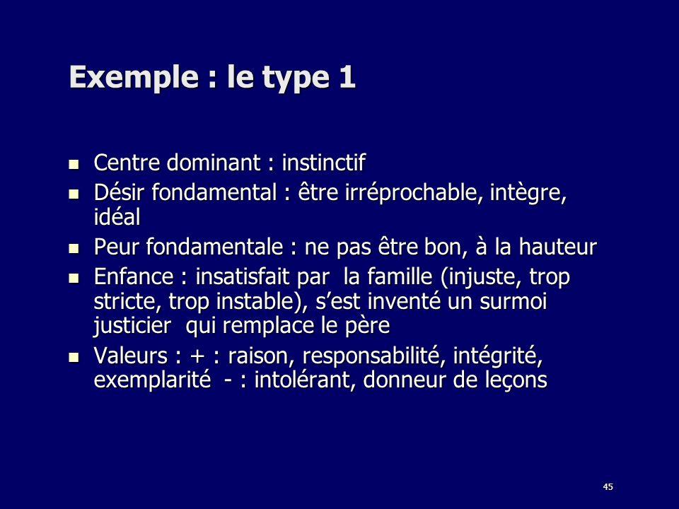 45 Exemple : le type 1 Centre dominant : instinctif Centre dominant : instinctif Désir fondamental : être irréprochable, intègre, idéal Désir fondamen